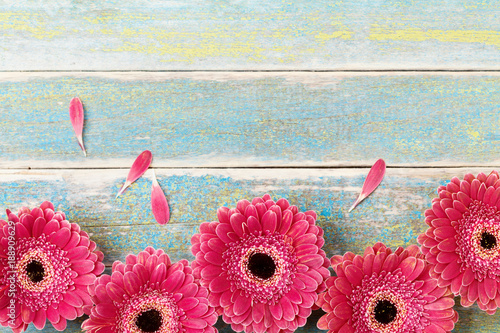 Fresh Red Gerbera Flower Border On Vintage Wooden Background Mother Or Woman Day Greeting Card