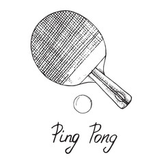 Ping pong paddle and ball, hand drawn doodle sketch with inscription, isolated vector outline illustration
