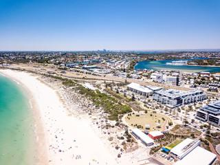 Aerial photograph over Leighton Beach, North Fremantle, Western Australia,  Australia. Perth City is visible on the horizon.