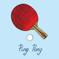 Ping pong red paddle and ball, hand drawn doodle sketch with inscription, isolated vector color illustration on blue background