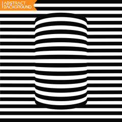 A black and white geometrical distortion optical illusion