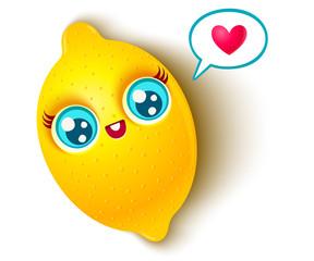 cute lemon and heart.