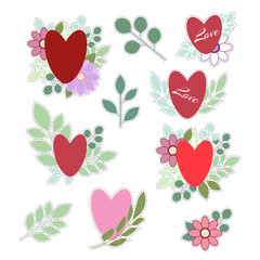 Set of stickers for Valentines day. Isolated on white background. Heart on the background of flowers and leaves. Vector.