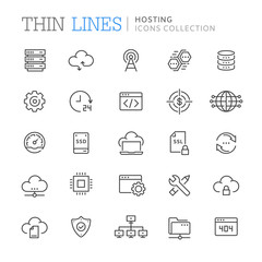 Collection of hosting line icons