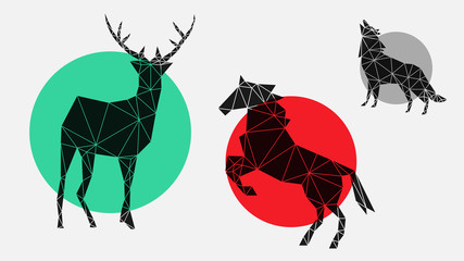 flat, fashionable, stylish, geometric icons with deer, horse, wolf for interior, design, advertising, wallpaper, covers, walls