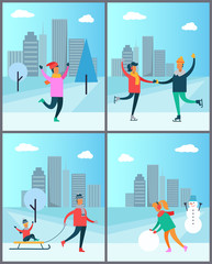 Couple Skates on Rink Man in Sweater Woman Snowman