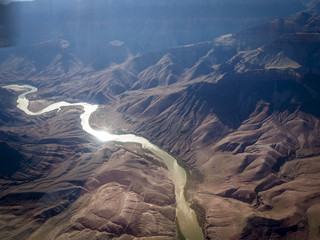 Aerial view from the Grand Canyon National Park and Colorado River