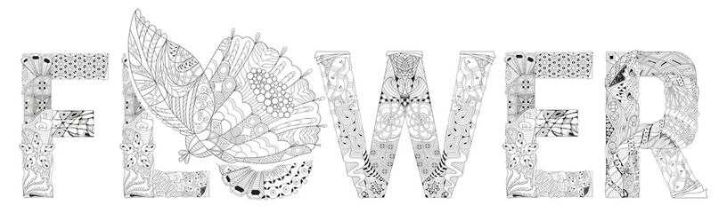 Word FLOWER for coloring. Vector decorative zentangle object