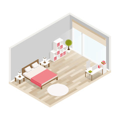 Bedroom isometric design with bed,workplace,bookcase,carpet.City hotel flat color illustration.Isometric living room.Isometric luxury interior for bedroom with double bed bedside tables and decoration