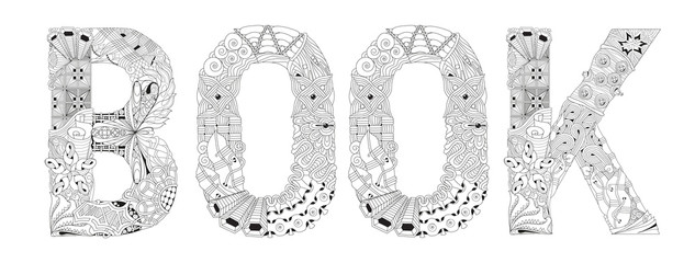 Word BOOK for coloring. Vector decorative zentangle object