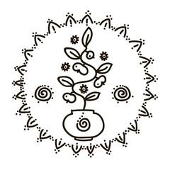 Vector illustration of feminine symbol and sacred geometry