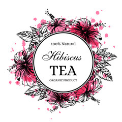 Hibiscus tea label in vintage hand drawn style