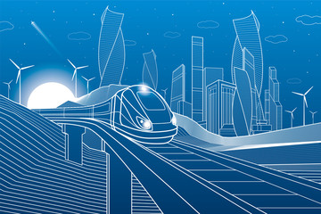 Train traveling on railroad bridge in mountains. Tower and skyscrapers, modern city, business buildings. Night scene. White lines on blue background. Windmills power. Vector design art