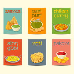 .Indian food banners, cards, posters set ,vintage colors