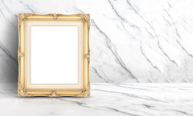 Empty golden vintage frame at white clean marble wall and floor background,Minimal simple style interior backdrop.mock up space for adding your text or design in banner.