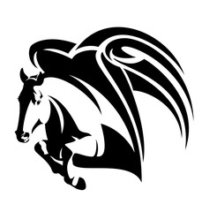 jumping pegasus - winged horse black and white vector design