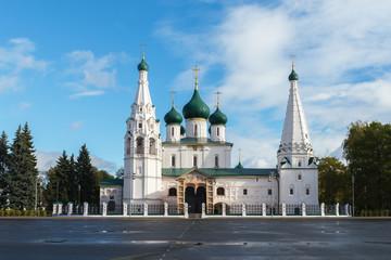 White church of Elijah the Prophet in the centre of Yaroslavl city