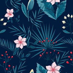 pattern of leaves of a palm tree and flowers on a dark background