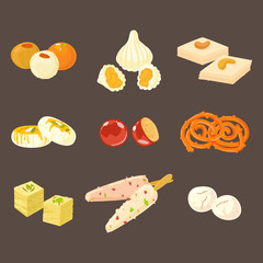 Indian traditional sweets set. Indian sweets icons isolated on dark background.