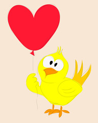 Sketch drawing cartoon Duck holding heart-shaped balloons