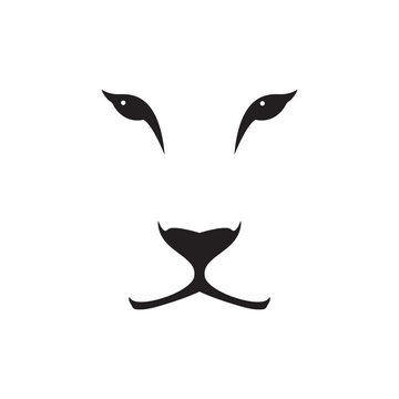 Vector image of a lioness head on white background. Wild cat.