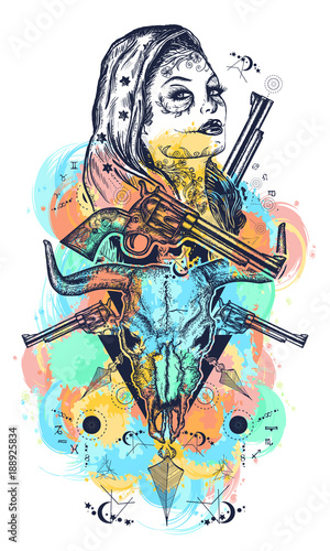 Mexican criminal color tattoo art and t-shirt design  Wild