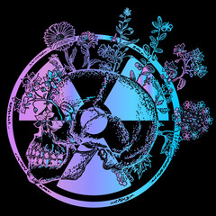 Atomic skull fashion t-shirt design. Symbol of radiation, apocalypse, nuclear war, end of world, dangers of nuclear energy
