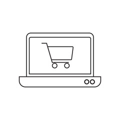 Online shopping with laptop icon vector illustration. Free Royalty Images.