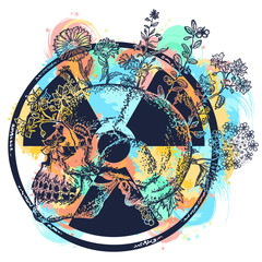 Atomic skull watercolor splashes color tattoo and t-shirt design. Symbol of nuclear war, end of world, dangers of nuclear energy