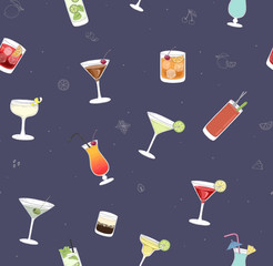 Seamless pattern with color cocktails.