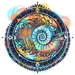 Big wave and sea shell color tattoo and t-shirt design. Symbol of adventures boho style. Great outdoors. Tsunami waves tattoo. Sea ammonite and storm