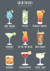 Set of alcoholic cocktails. Vector illustration.