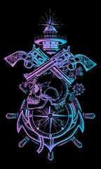 Skull and guns, anchor, steering wheel, compass, lighthouse, sea poster art. Symbol of maritime adventure, pirate, criminal. Pirate skull, revolver, anchor and lighthouse t-shirt design