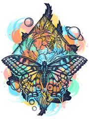 Butterfly, rose, and universe color tattoo, geometrical style. Beautiful Swallowtail boho t-shirt design. Mystical symbol of freedom, nature, tourism. Realistic butterfly art tattoo for women