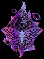 Butterfly, rose, and universe poster, geometrical style. Beautiful Swallowtail boho t-shirt design. Mystical symbol of freedom, nature, tourism. Realistic butterfly art tattoo for women
