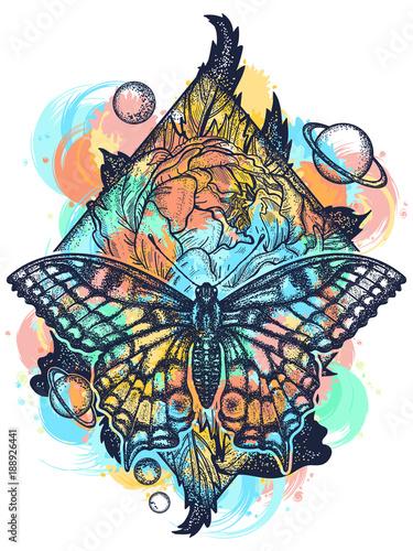 3d476042d Beautiful Swallowtail boho t-shirt design. Mystical symbol of freedom,  nature, tourism. Realistic butterfly art tattoo for women