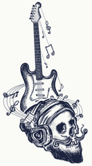 Guitar and human skull tattoo and t-shirt design. Electro guitar and music notes rock, symbol of hard rock, punk music, rock and roll art