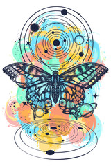 Butterfly and universe color tattoo, geometrical style. Mystical symbol of freedom, nature, tourism. Realistic butterfly art tattoo for women. Beautiful Swallowtail boho t-shirt design