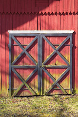 Red doors on the barn