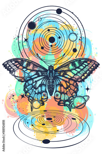 2c3a1b7c8795c Butterfly and universe color tattoo, geometrical style. Mystical symbol of  freedom, nature,