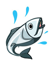 sea fresh fish illustration cartoon drawing and white background and banner