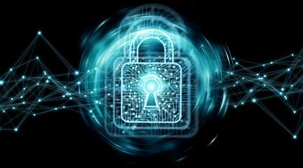Digital padlock securing datas background 3D rendering