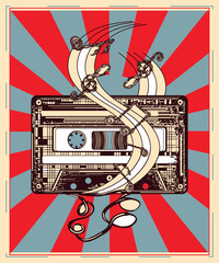 Audio cassette and music notes poster. Symbol of retro music, nostalgia, 80th and 90th. Old audio cassette, symbol of pop music, disco t-shirt design