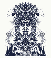 Ancient aztec totem and mountains, Mexican god. Ancient Mayan civilization. Indian mayan carved in stone tattoo art. Mayan tattoo and t-shirt design