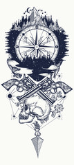 Compass and guns tattoo and t-shirt design. Wild west art. Symbol of wild west, robber, crime Outdoors t-shirt design