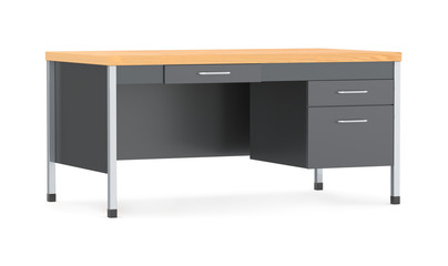 Desk isolated on the white background. 3d illustration
