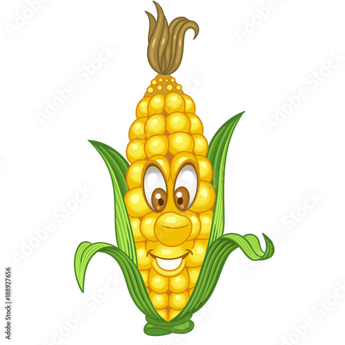 Cartoon Corn Character Sweetcorn Cob Happy Vegetable Symbol Eco Food Icon Design