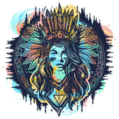 Native American woman tattoo art. Ethnic girl warrior. Young woman in costume of american indian vector ethnic art. Tribal indian woman color tattoo and t-shirt design