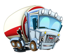 Cartoon happy and funny looking cistern truck broken hole leaking oil - illustration for children