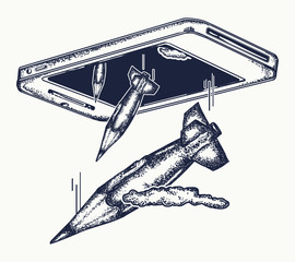 Caricature of mass media. Journalism, media, concept of mass media, propaganda. Bombs pencils. Symbol of force of word, compromising evidence, media technology